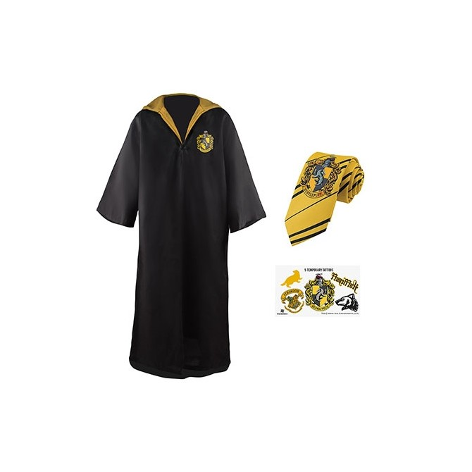Harry Potter: Hufflepuff Robe, Necktie & Tattoo Set